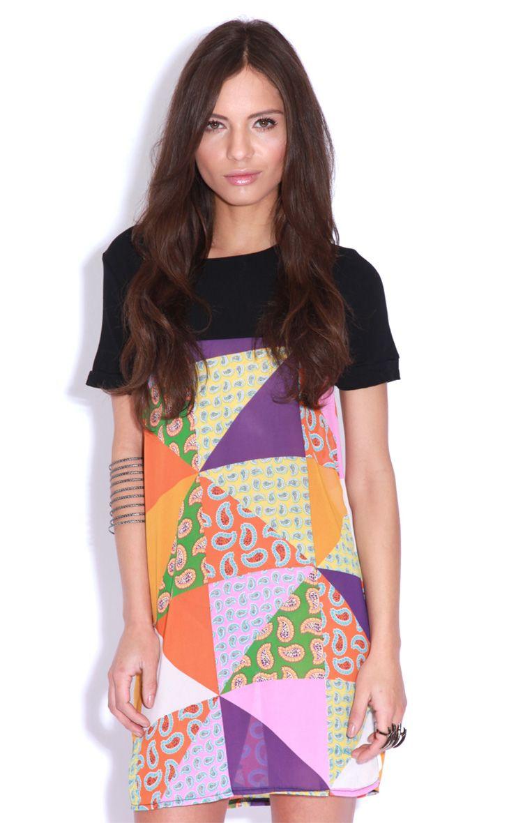 Vita Purple Patchwork Shift Dress 1