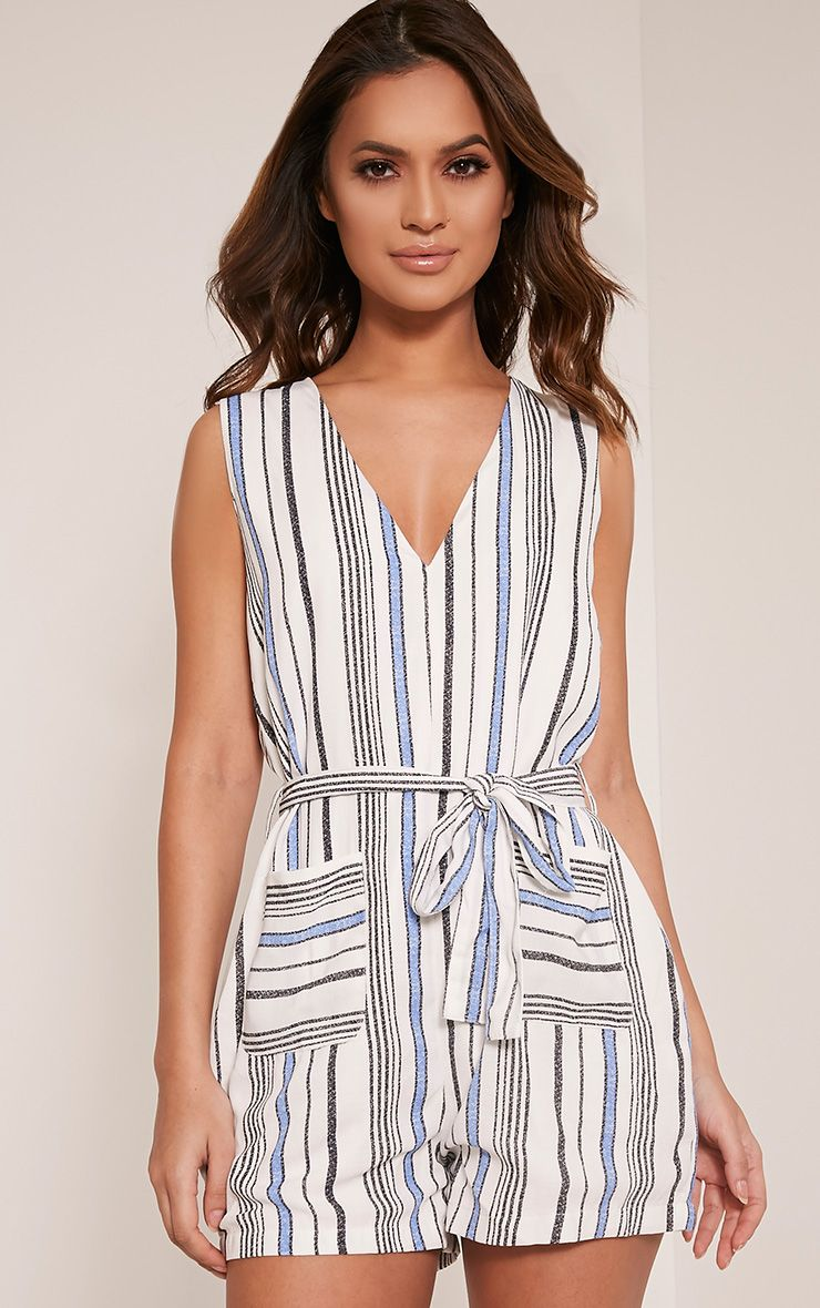 Mazie Blue Stripe Playsuit