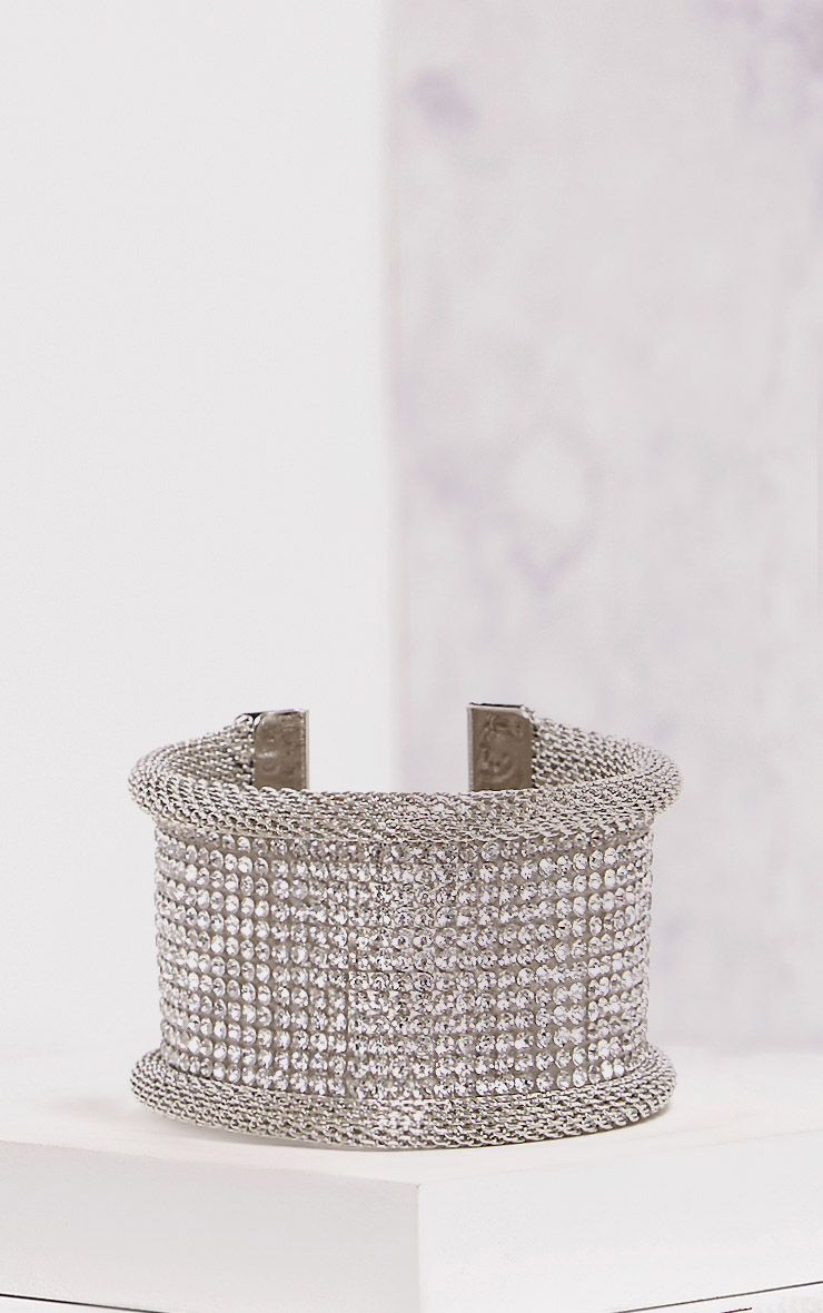 Cisi Silver Glitter Diamante Cuff