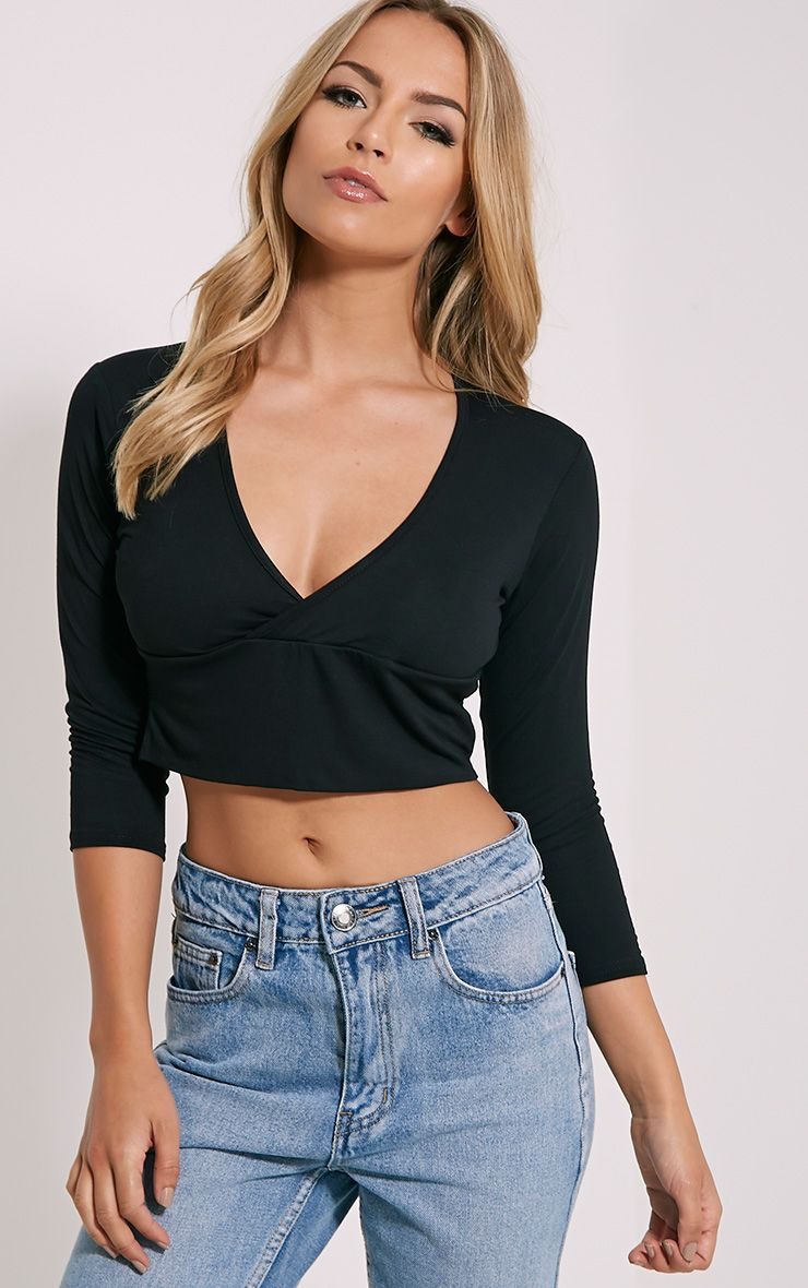 Basic Black Cross Over Jersey Crop Top 1