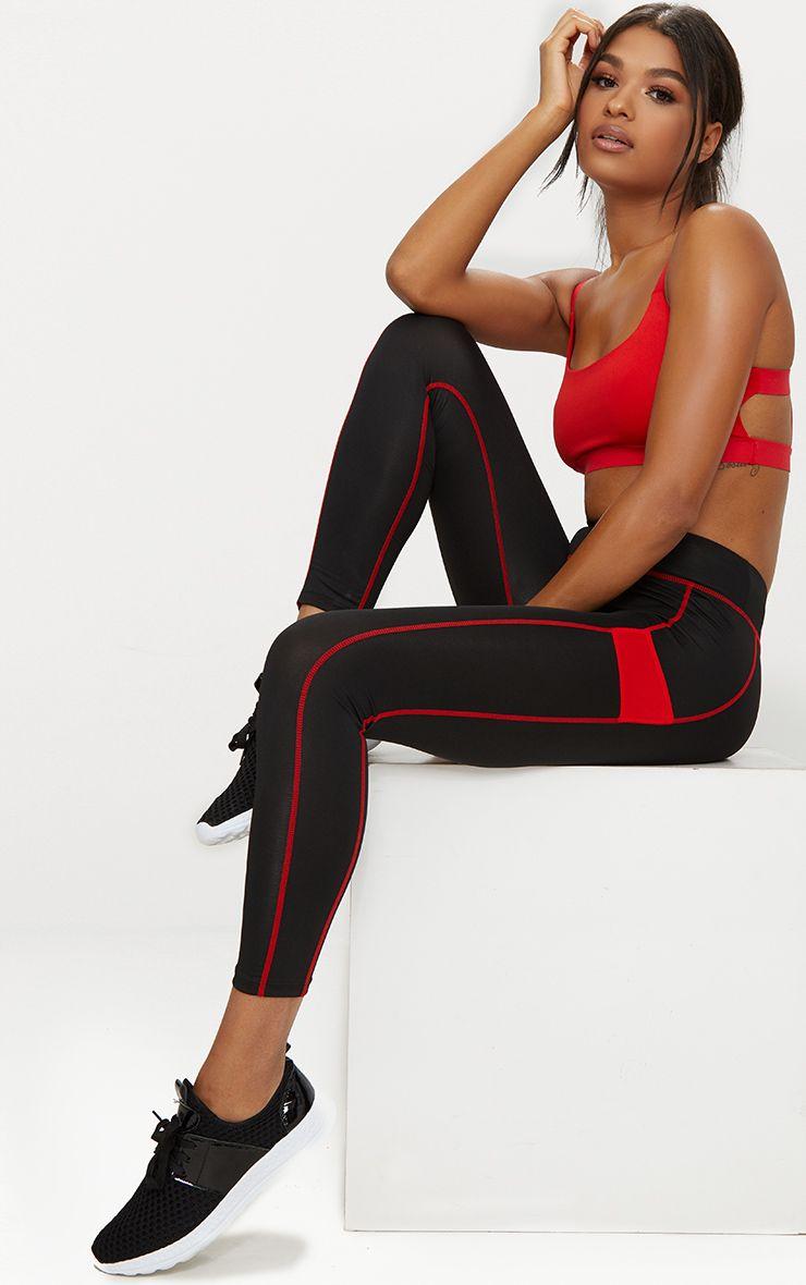 Red Panelled Gym Leggings