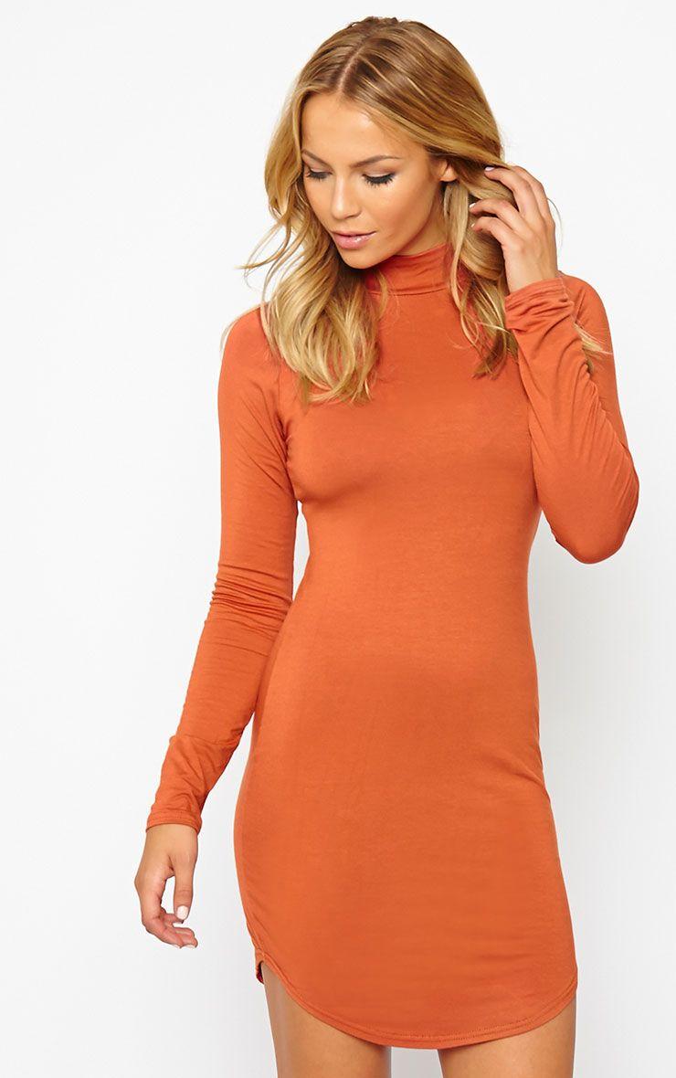 Alby Rust Curve Hem High Neck Dress 1