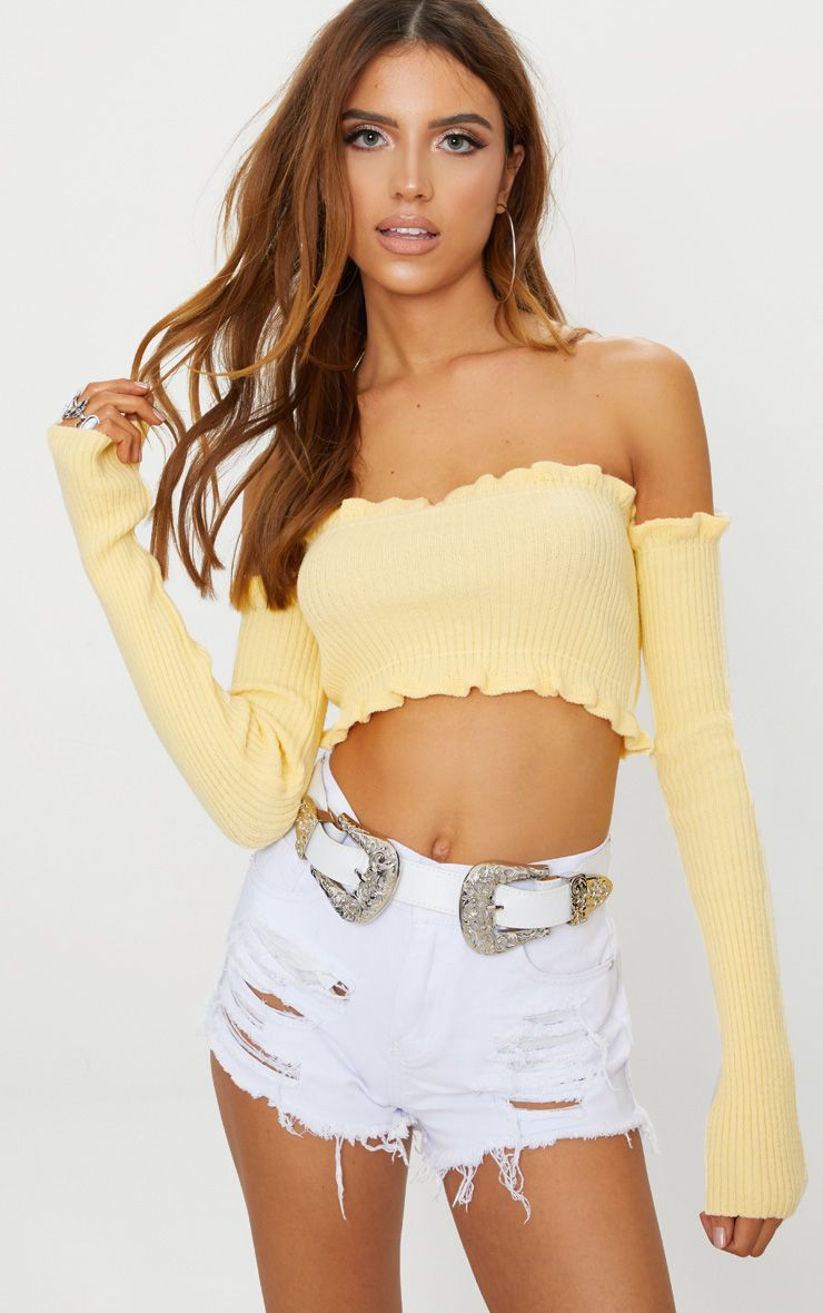 Lemon Ruffle Detail Knit Bardot Long Sleeve Top
