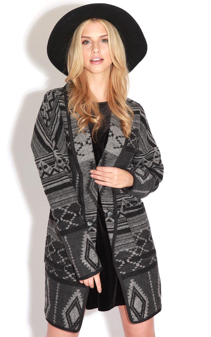 Emmie Black & Grey Knitted Coatigan 1