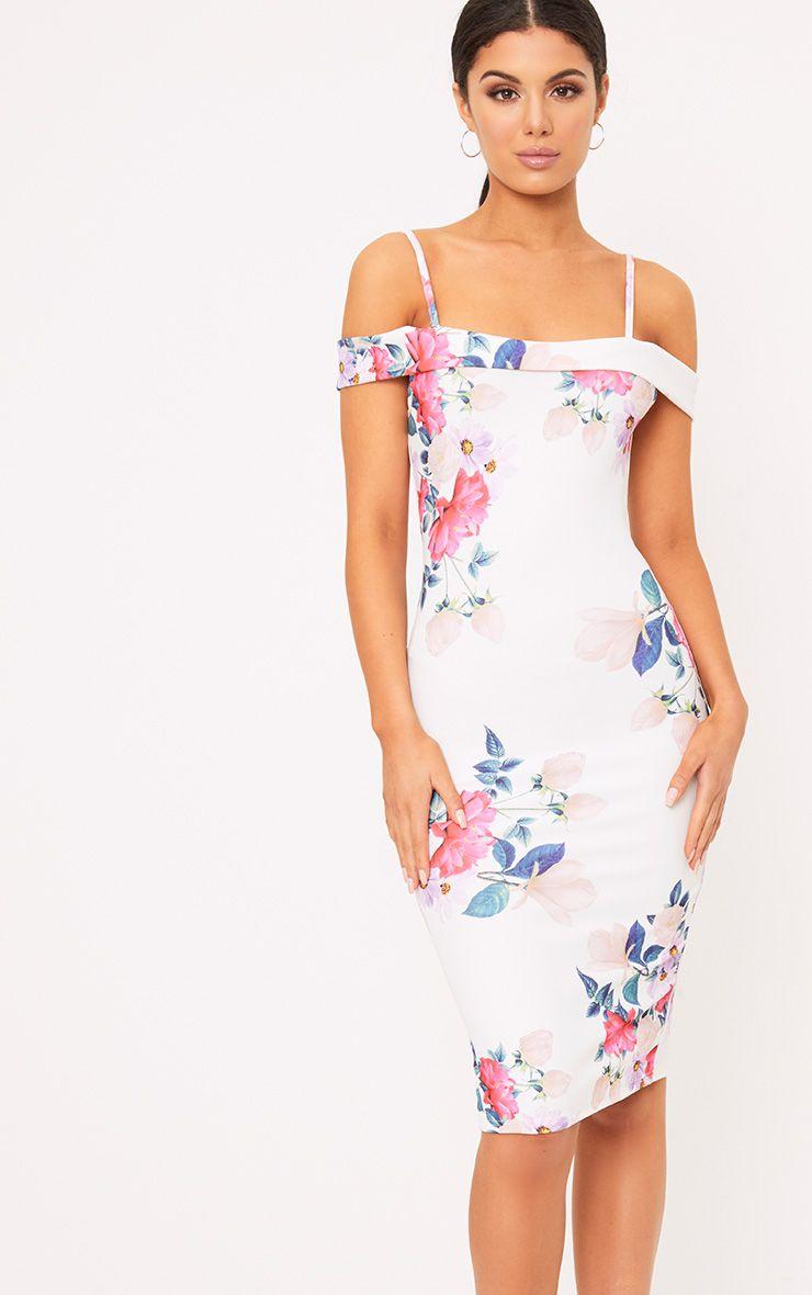 White Floral Cold Shoulder Midi Dress