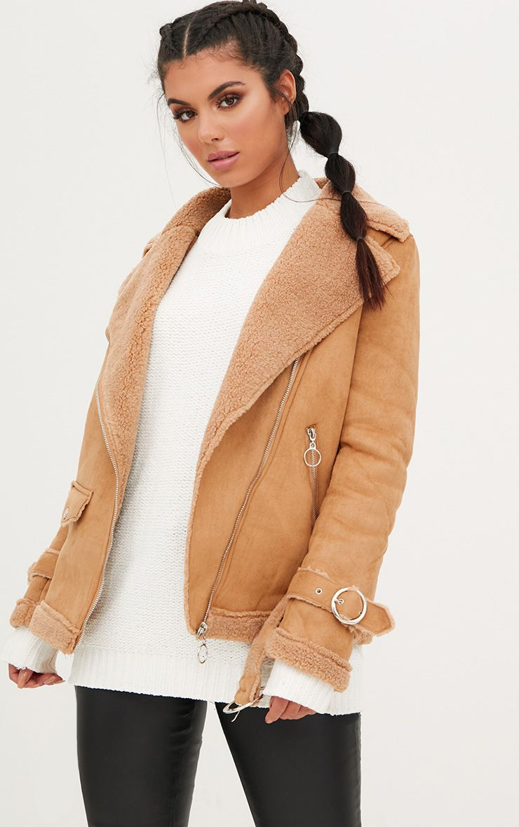 Tan Ring Pull Suede Aviator Coat