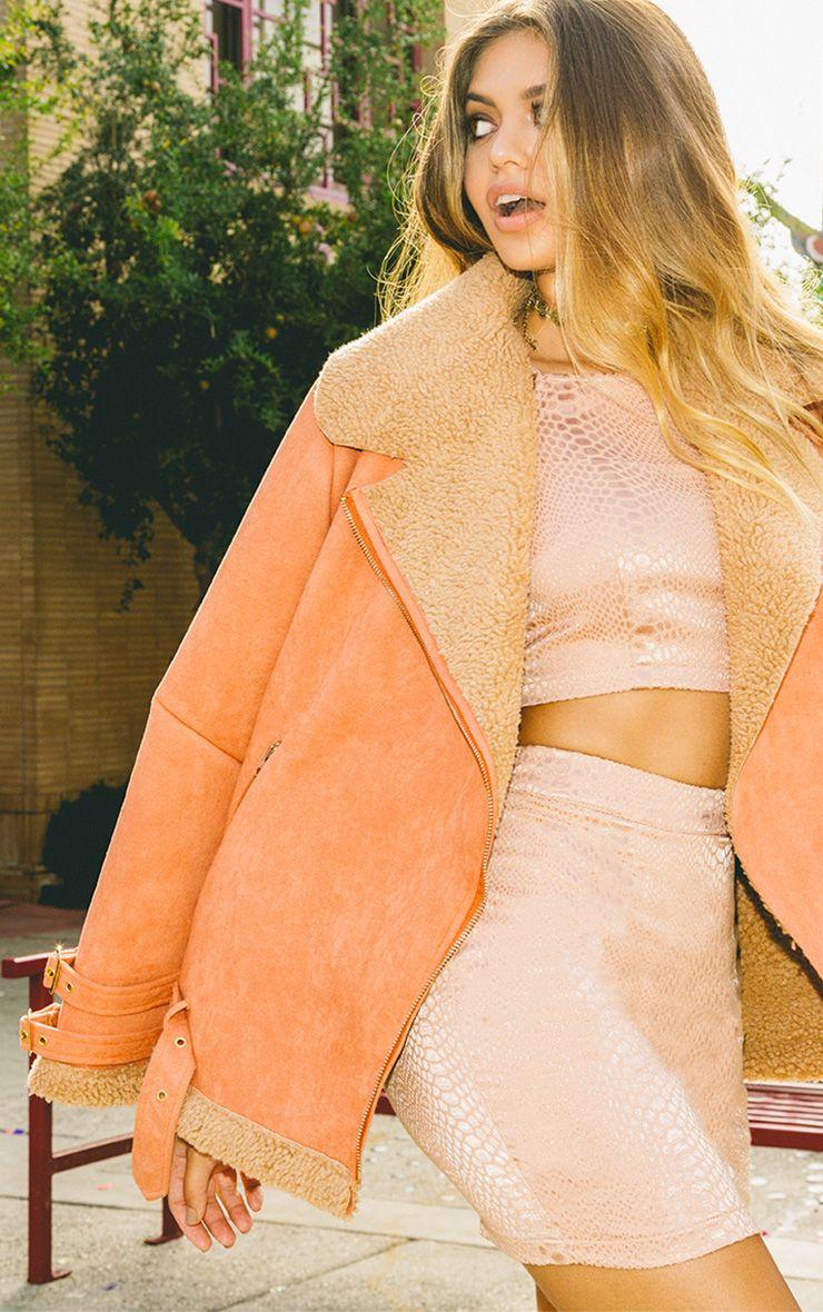 Emilia Deep Peach Faux Suede Aviator Jacket