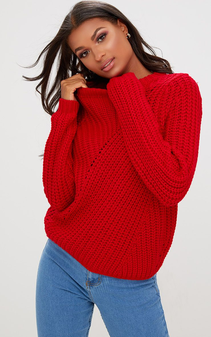 Red Chunky Knit Round Neck Jumper