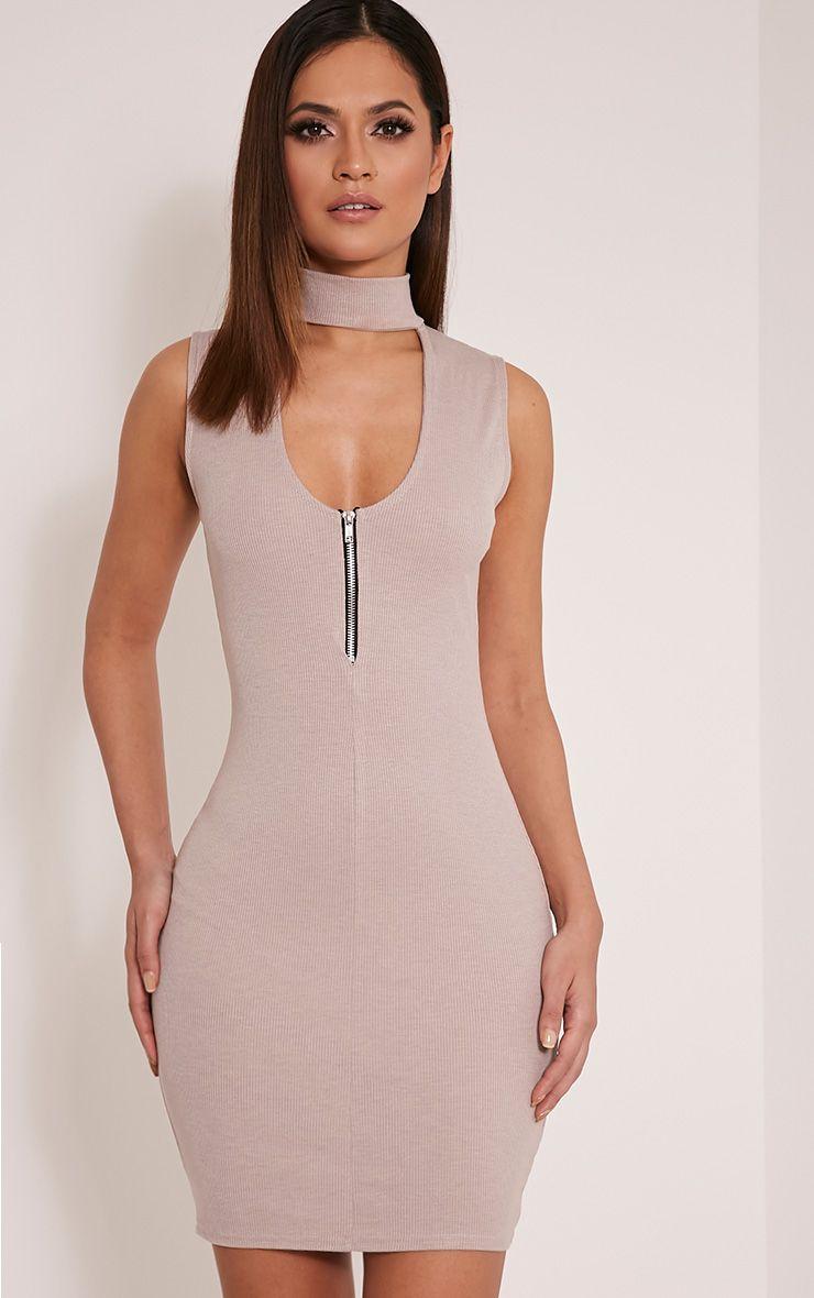 Marlene Taupe Sleeveless Plain Zip Ribbed Bodycon Dress 1