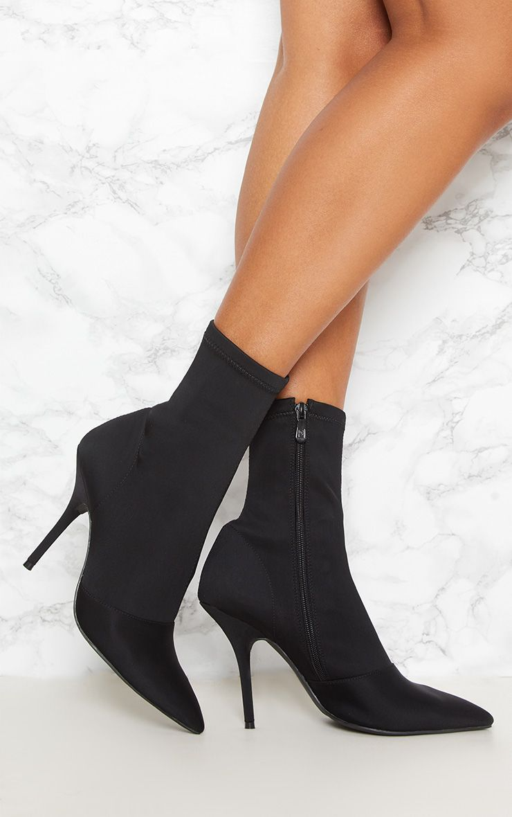 Black Neoprene Heeled Sock Boot
