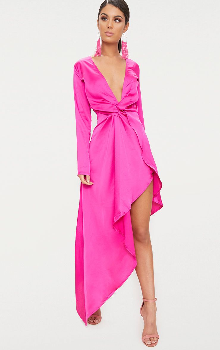 Fuchsia Satin Asymmetric Hem Long Sleeve Plunge Maxi Dress