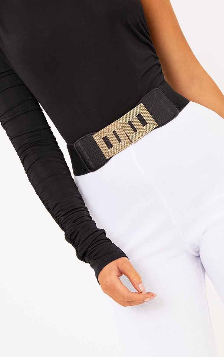 Paola Black Square Geo Buckle Waist Belt