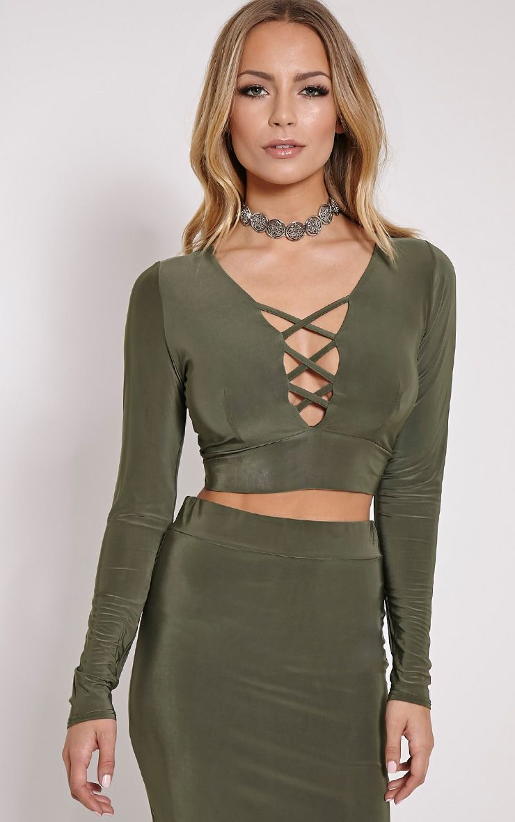 Malin Khaki Strap Detail Crop Top 1