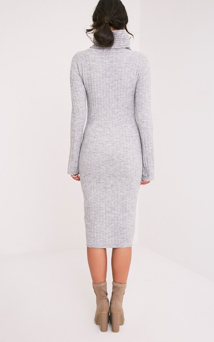 Elishiah Grey Knitted Soft Ribbed Midi Dress 3