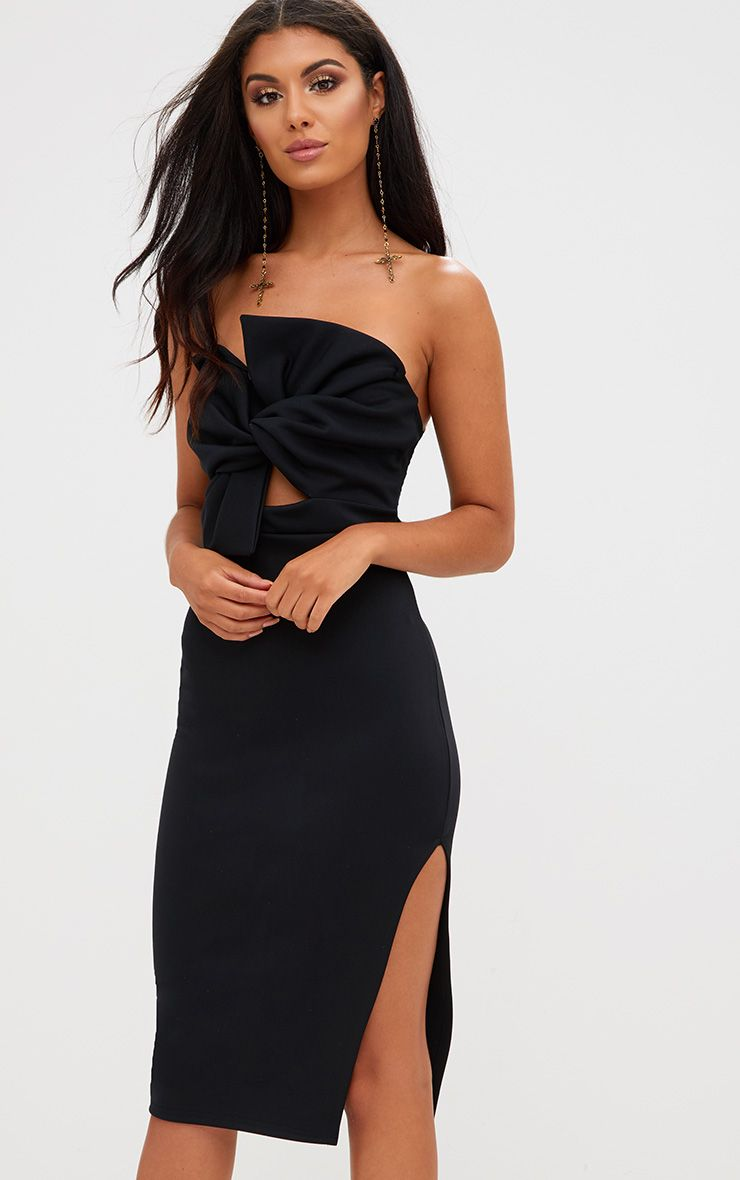 Black Bow Detail Scuba Midi Dress