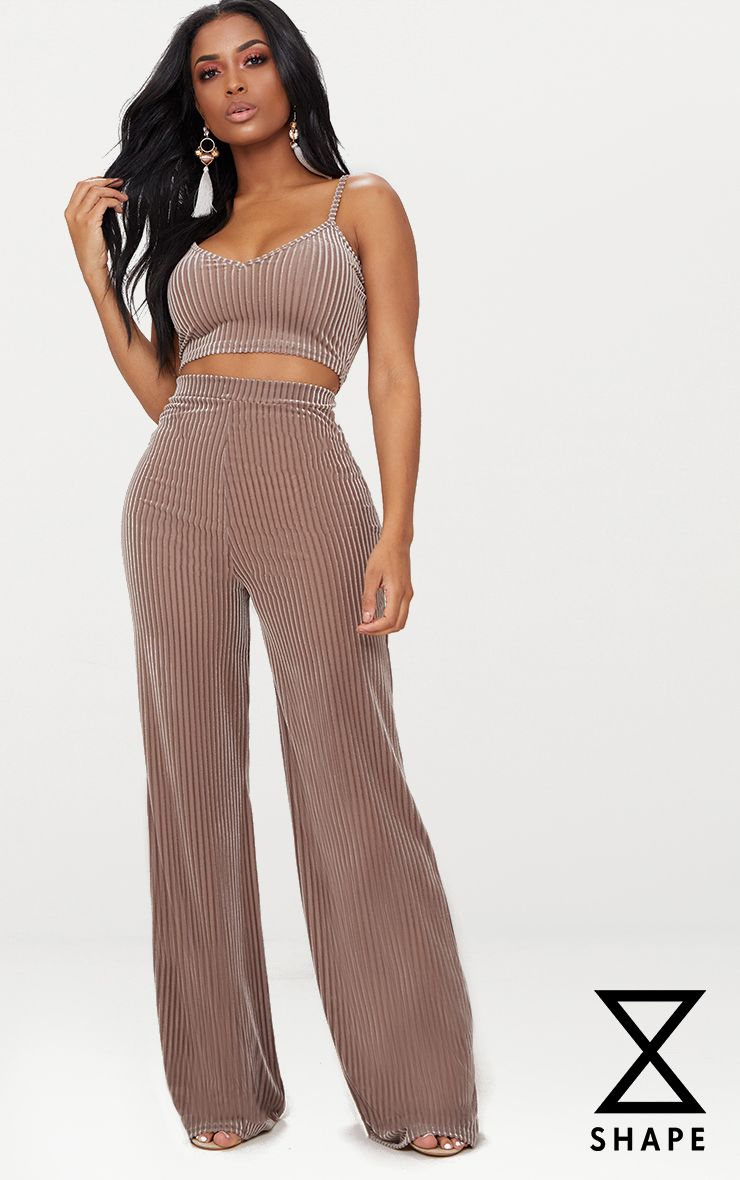 Shape Taupe Striped Velvet Wide Leg Trousers