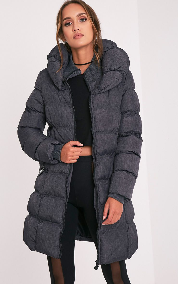 Shawn Grey Belted Puffer Coat 5