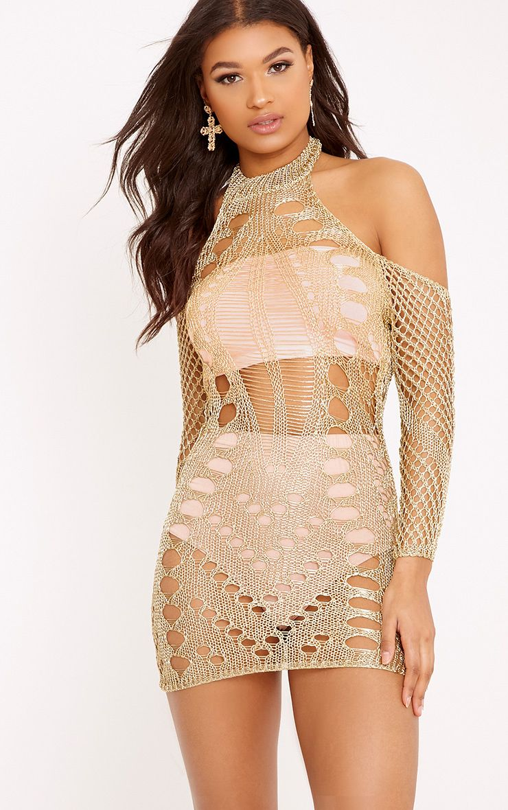 Penn Gold Metallic Cobweb Knit Mini Dress