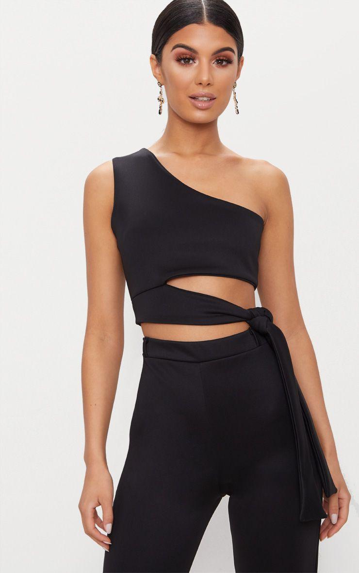 Black One Shoulder Tie Detail Crop Top
