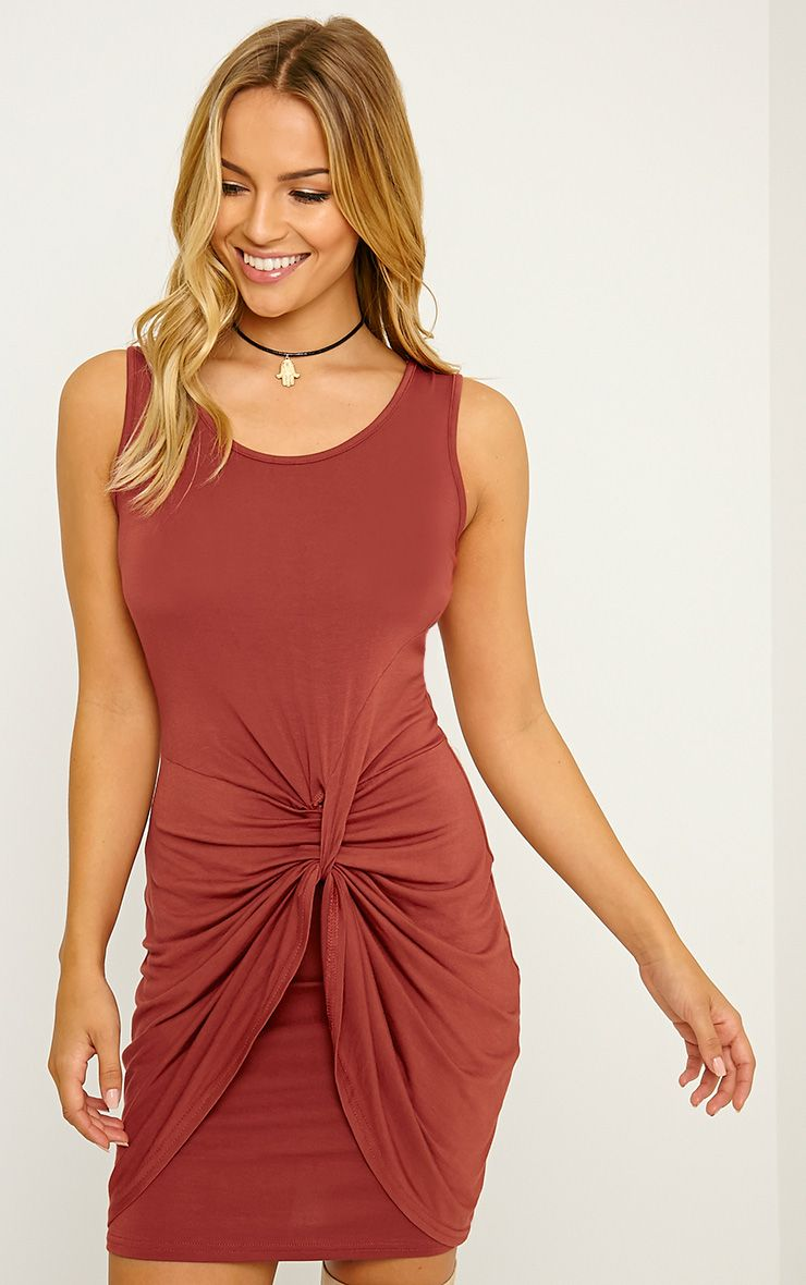 Izabella Rust Twist Front Dress 1
