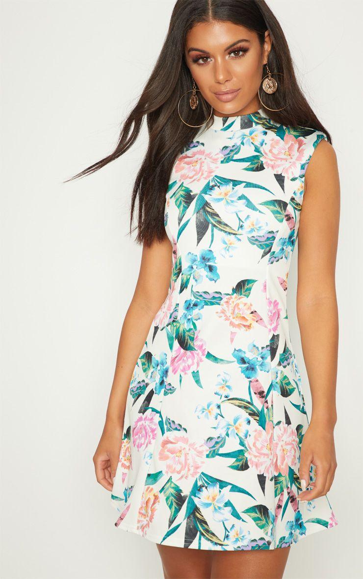 Cream Floral High Neck Shoulder Pad Detail Skater Dress