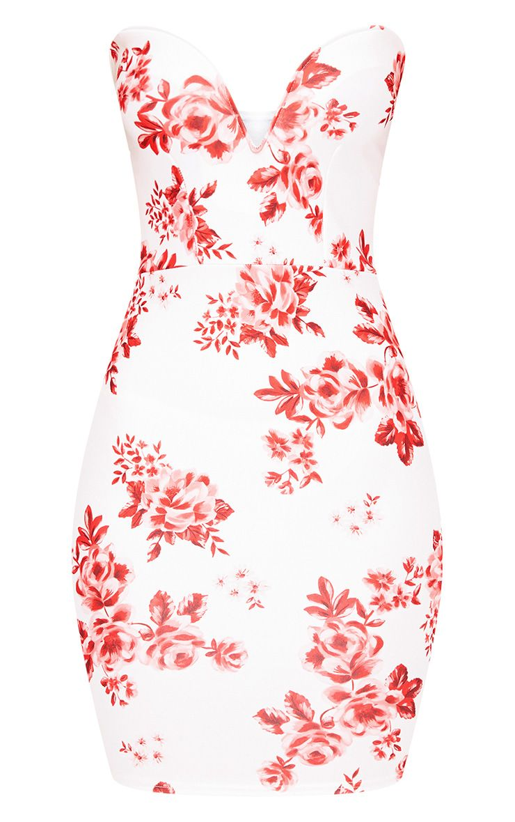 Red Printed Bandeau Bodycon Dress