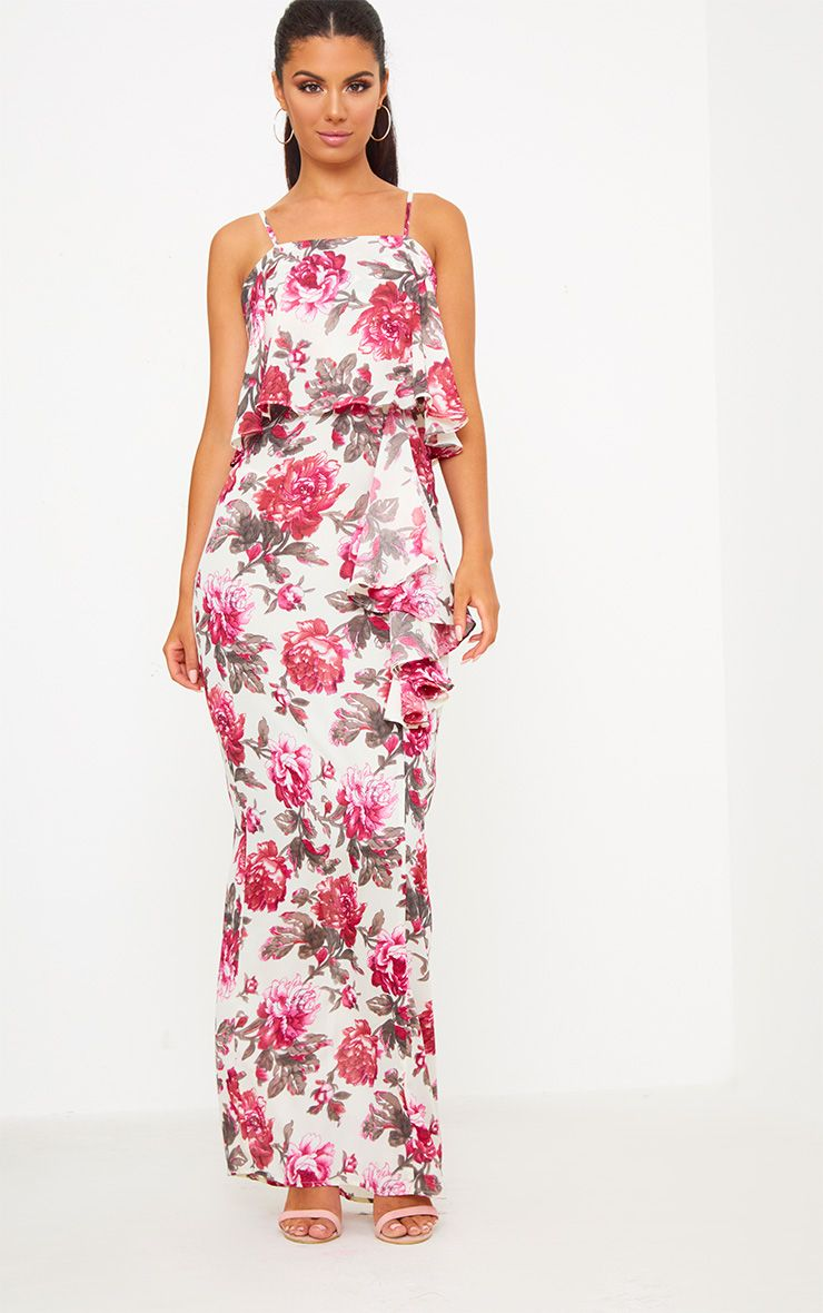 Pink Floral Strappy Ruffle Front Maxi Dress