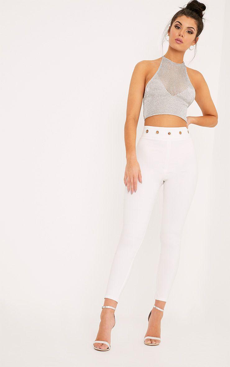 Katia White Eyelet Waist Skinny Trousers