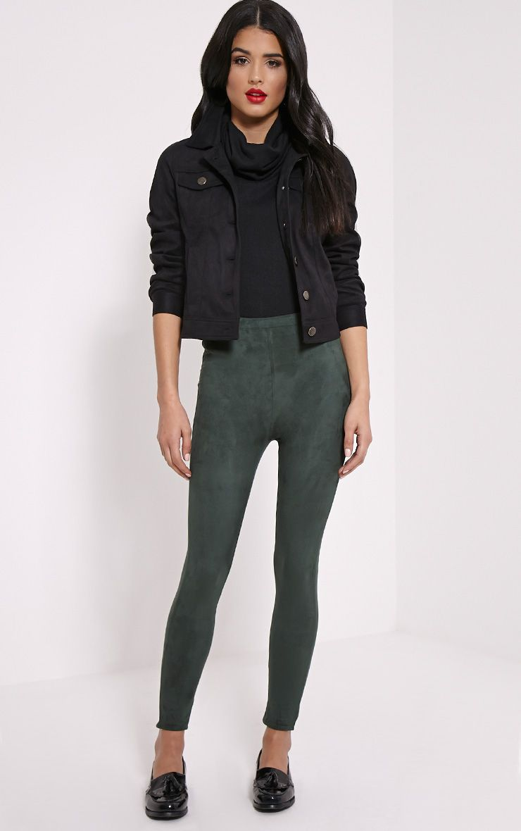 Kofi Khaki Faux Suede Leggings 1