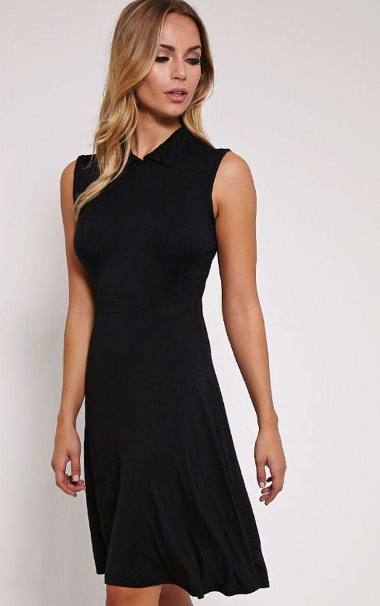 Oprah Black Drop Hem Collar Skater Dress 1