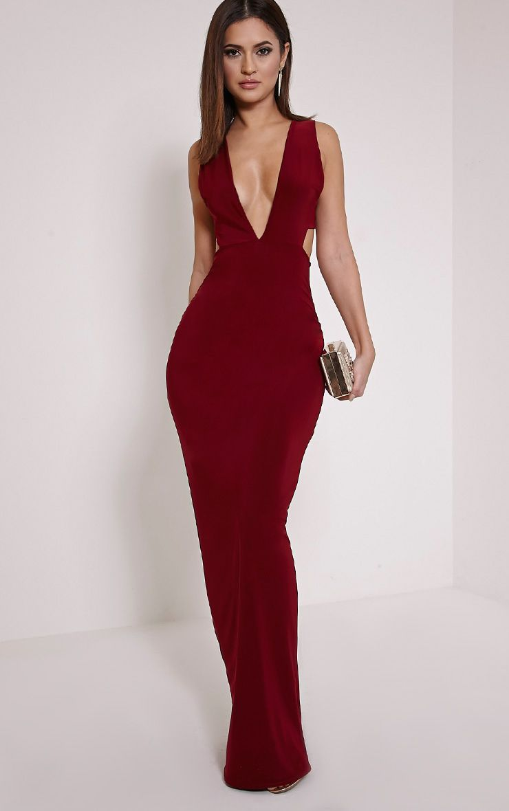 Mayah Burgundy Deep Plunge Tab Side Maxi Dress 1