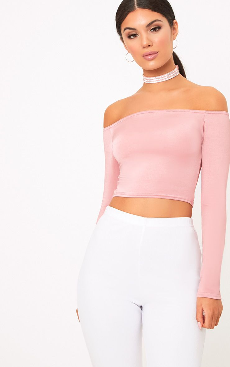 Alivia Rose Disco Slinky Bardot Longsleeve Crop Top