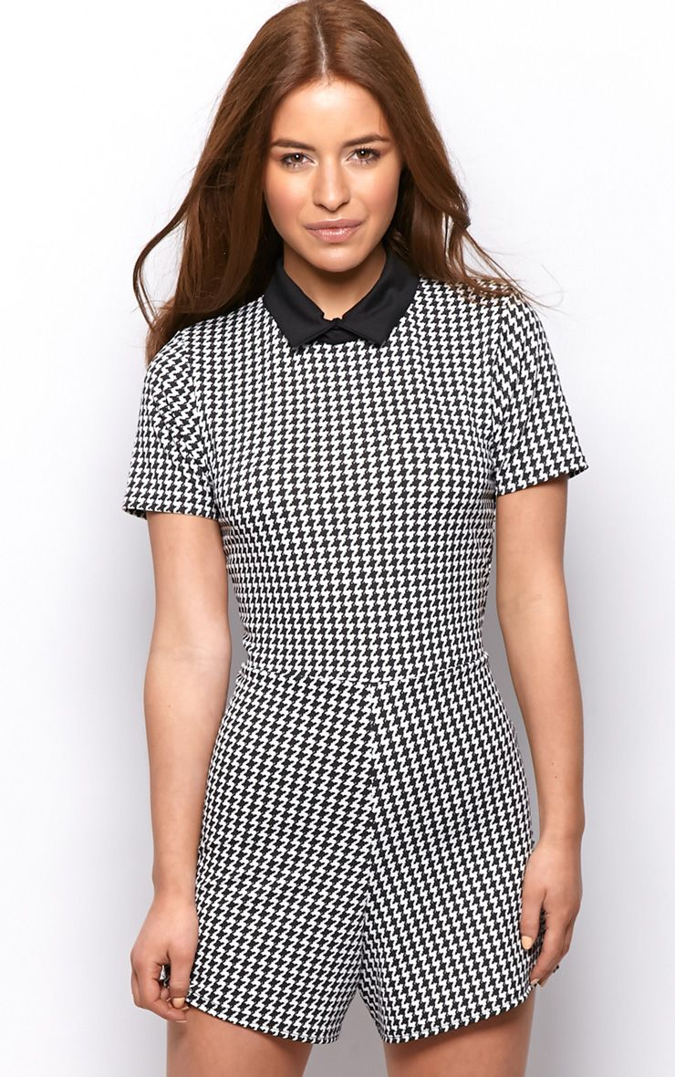 Sara Black & White Dogstooth Playsuit  1