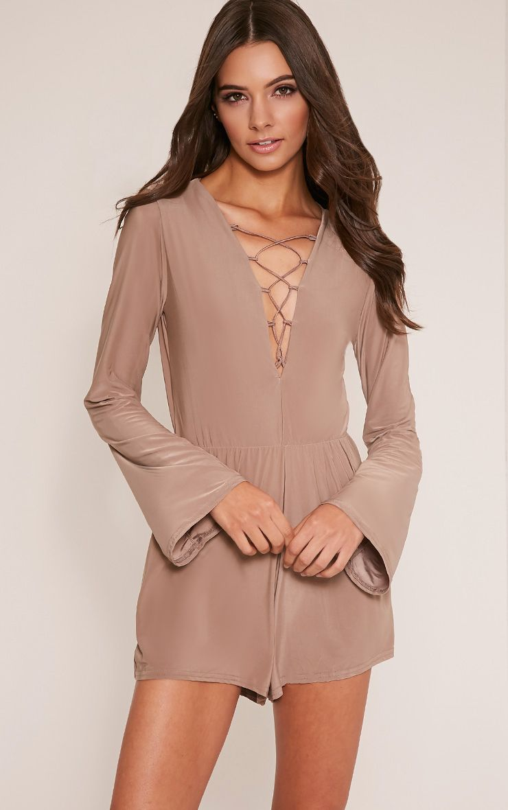 Talma Taupe Lace Up Slinky Playsuit 1