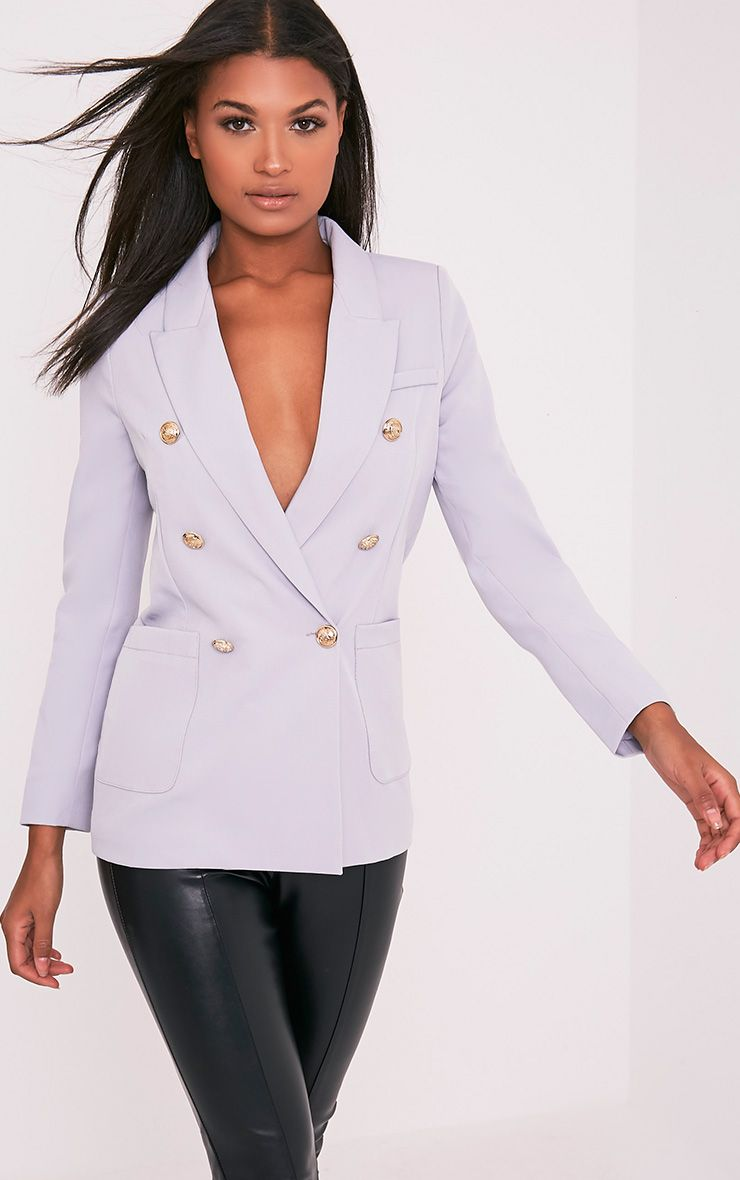 Pari Light Grey Double Breasted Military Style Blazer 1