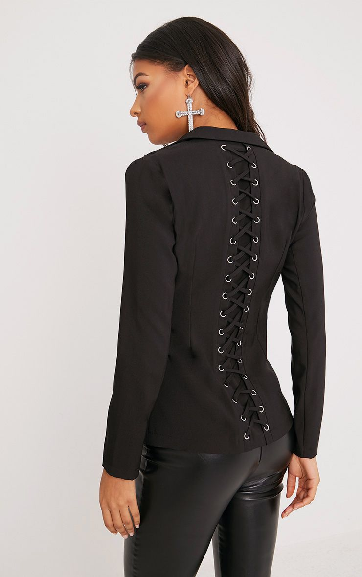 Abigale Black Laced Up Detail Blazer