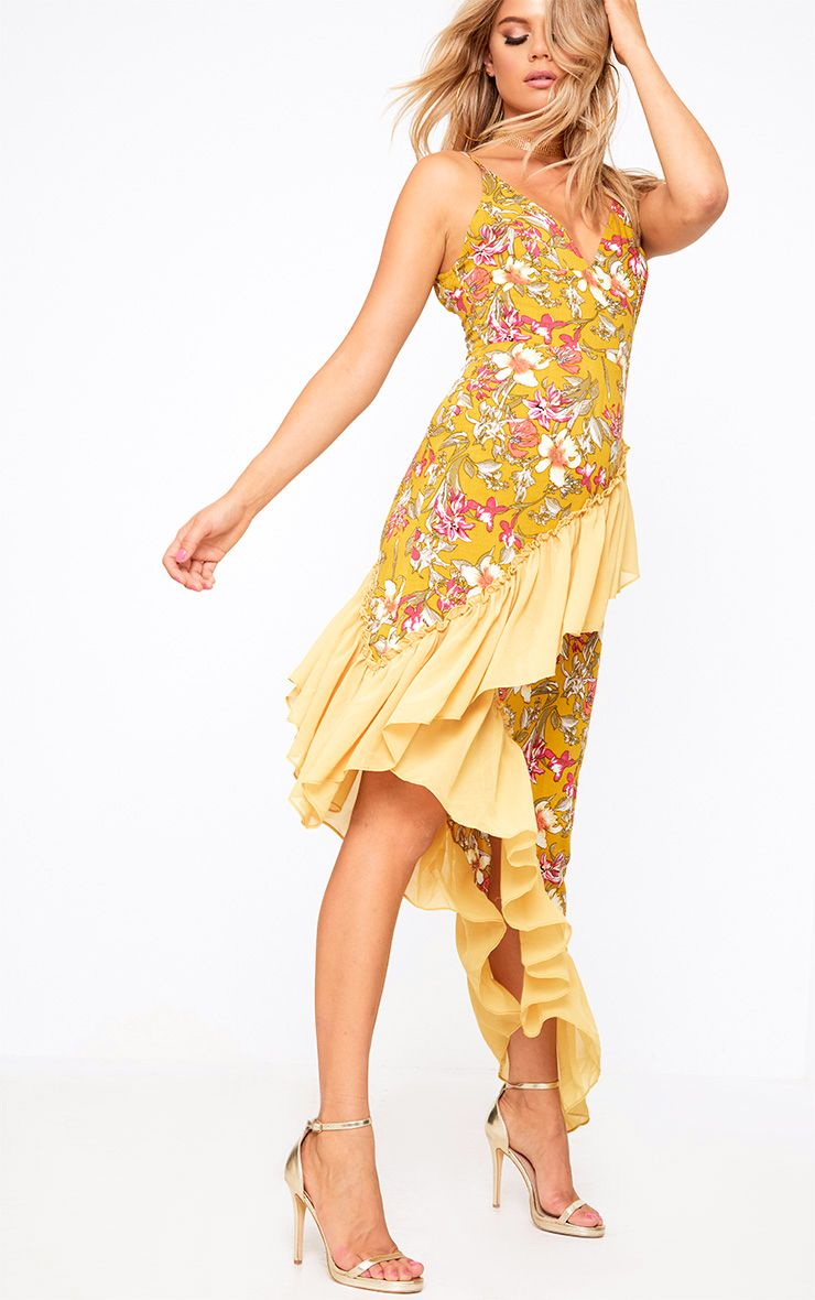 Mustard Floral Frill Detail Asymmetric Maxi Dress 1