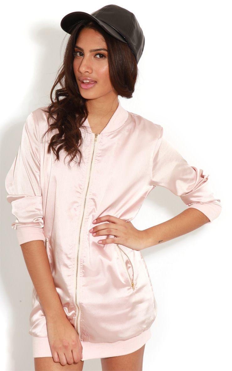 Clara Pink Silk Bomber Jacket 1