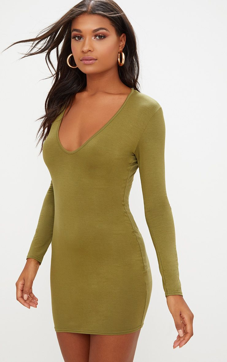 Olive Green Jersey Extreme Plunge Long Sleeve Bodycon Dress