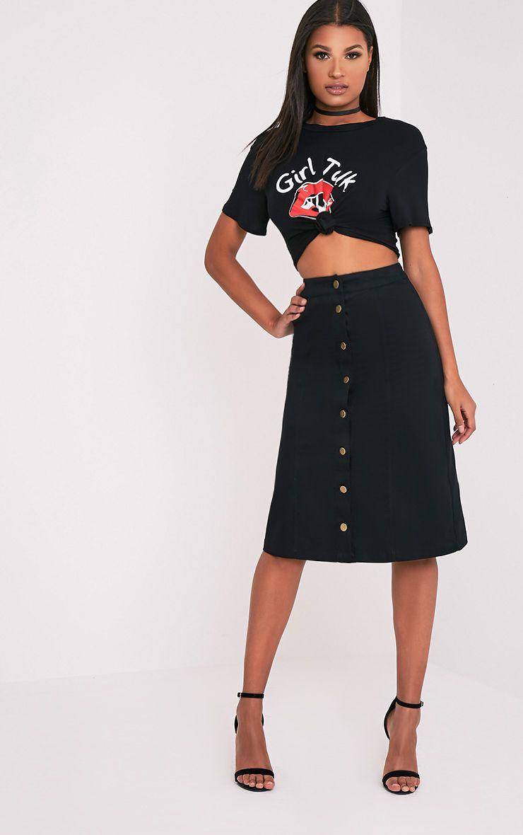 Cammie Black Midi Skirt