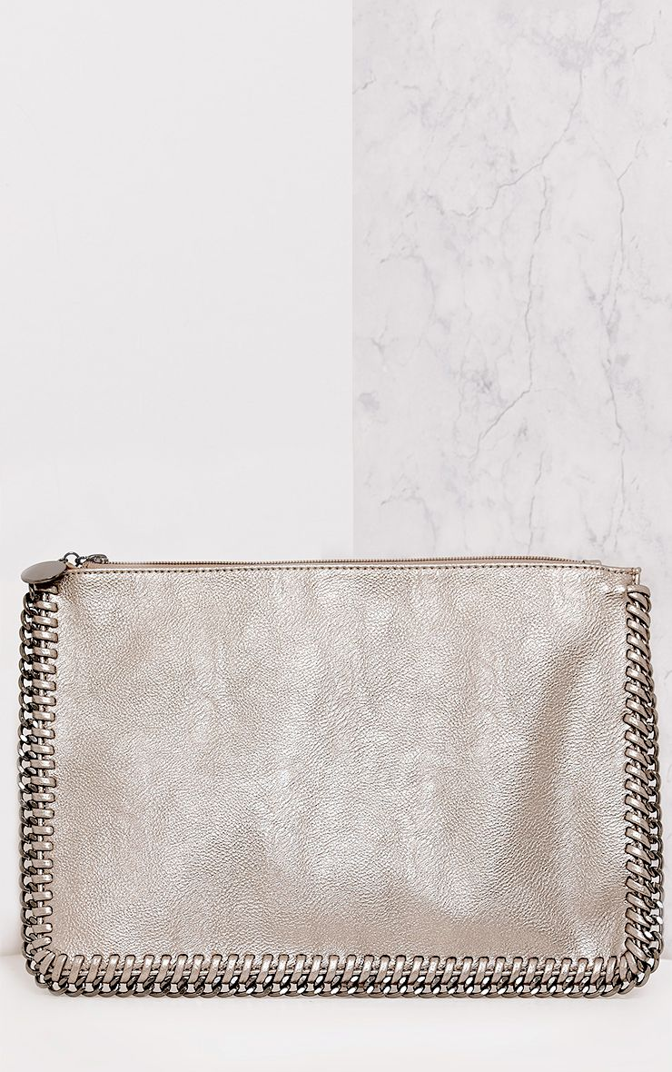 Wilfrie Pewter Oversized Chain Detail Bag   5
