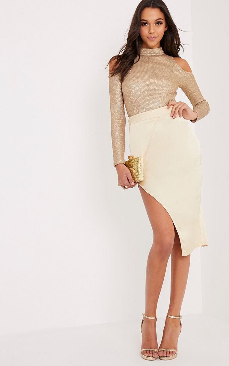Shreya Champagne Satin Asymmetric Wrap Skirt