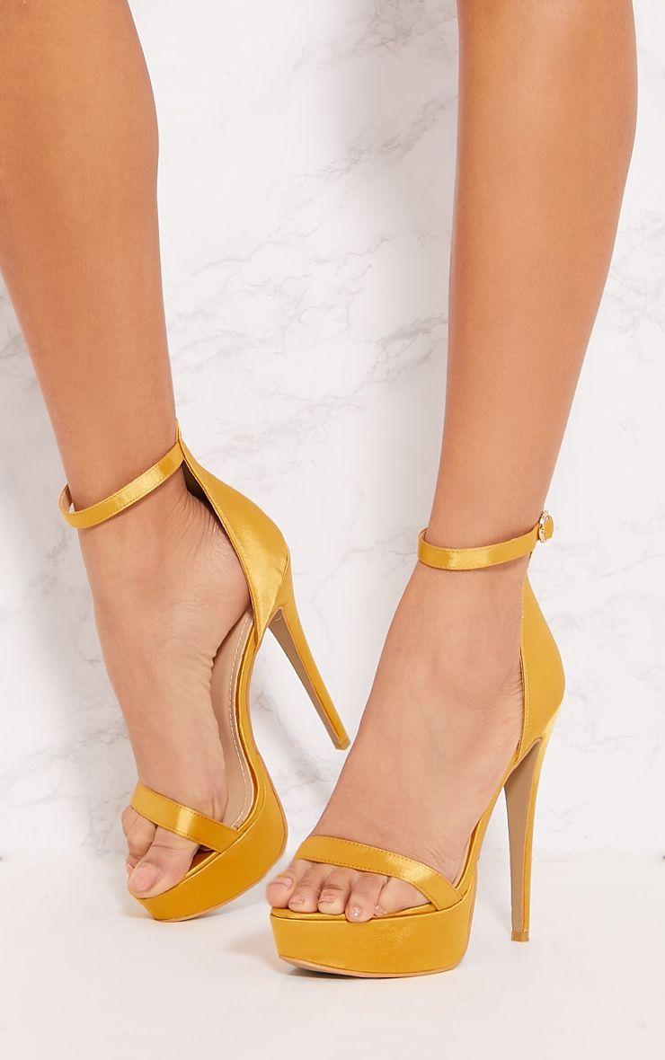 Yellow Satin Platform Sandal