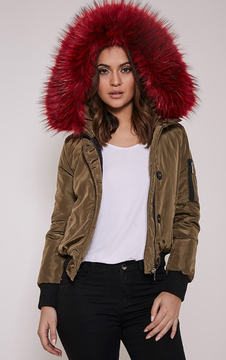 Lara Red  Faux Fur Lined Crop Parka 1