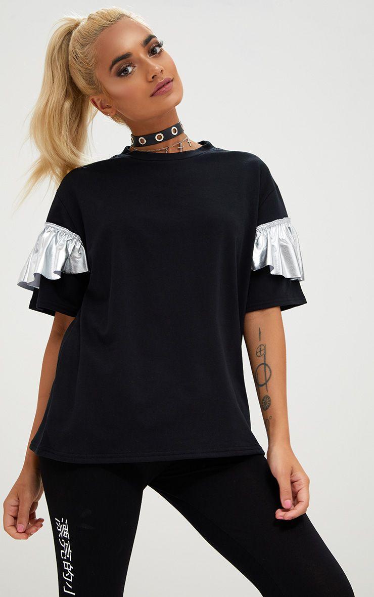 Silver Foil Frill Oversized T Shirt