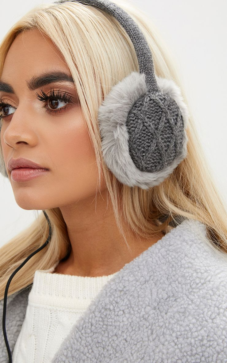 Black Cable Knit Built-in Headphones Ear Muffs - ONE SIZE 3