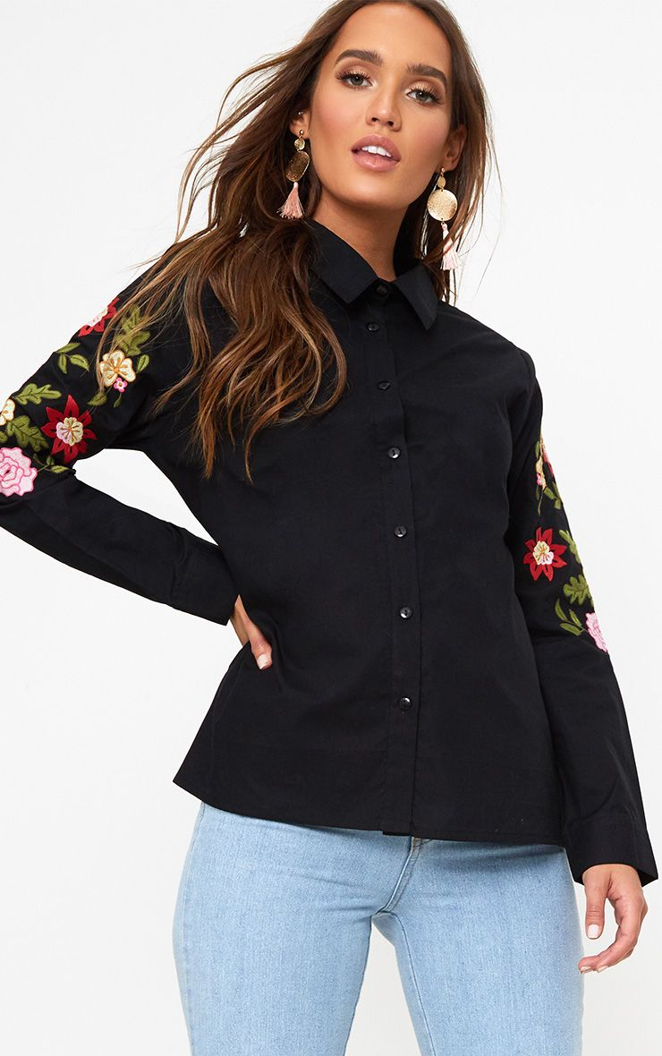 Black Floral Embroidered Shirt
