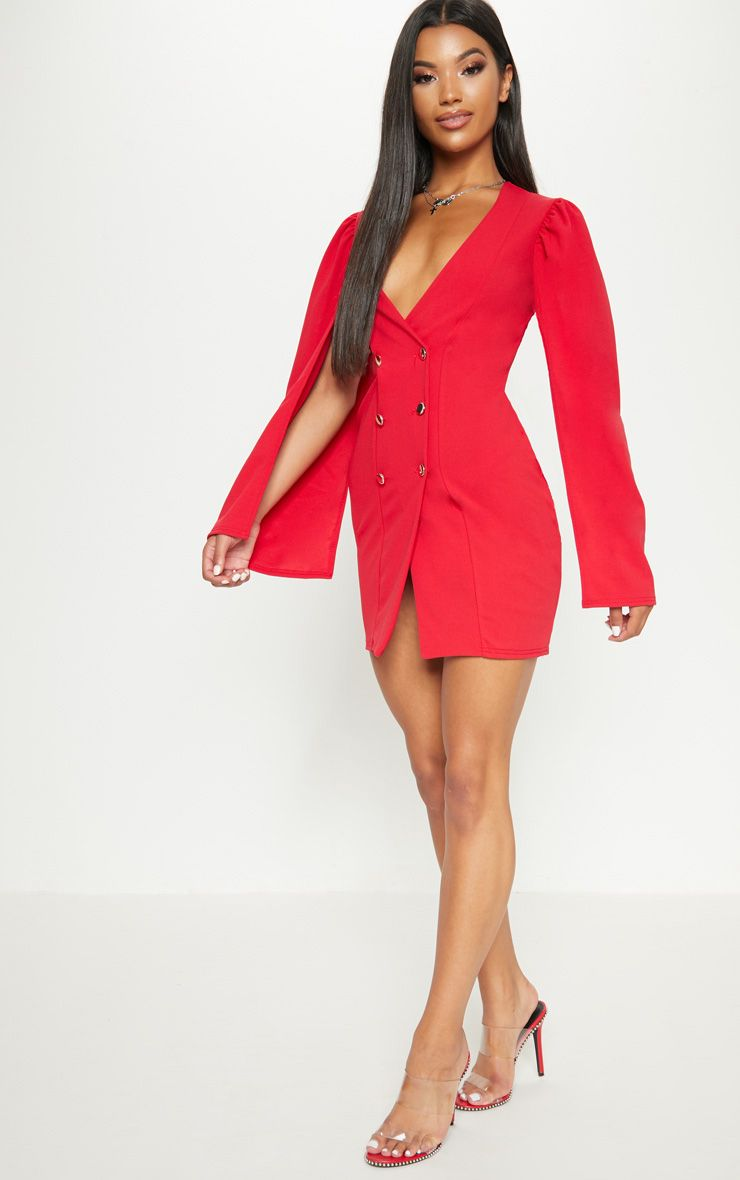 f07b32265332 PrettyLittleThing Red Cape Button Detail Blazer Dress at £25 | love ...