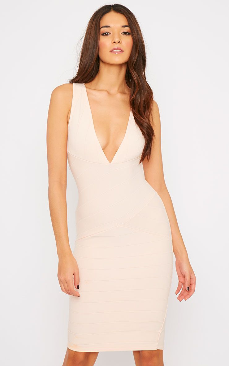 Frankie Nude Deep V Bandage Midi Dress 1