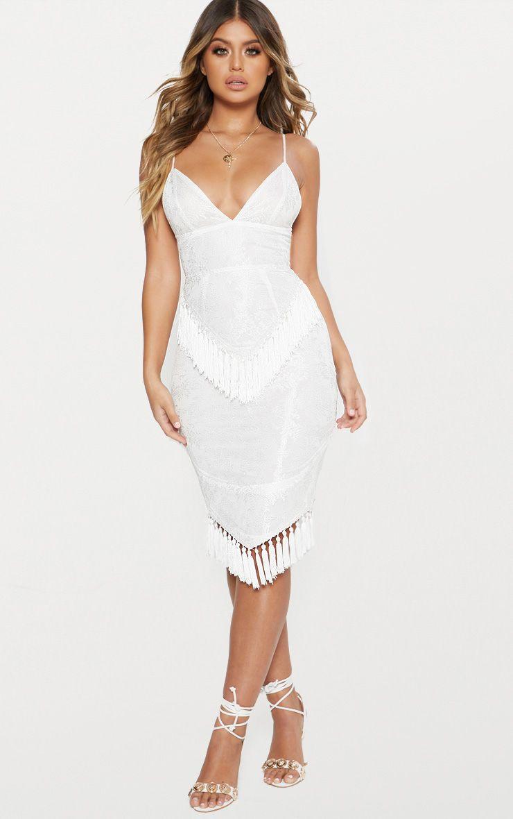White Lace Tassel Trim Plunge Midi Dress